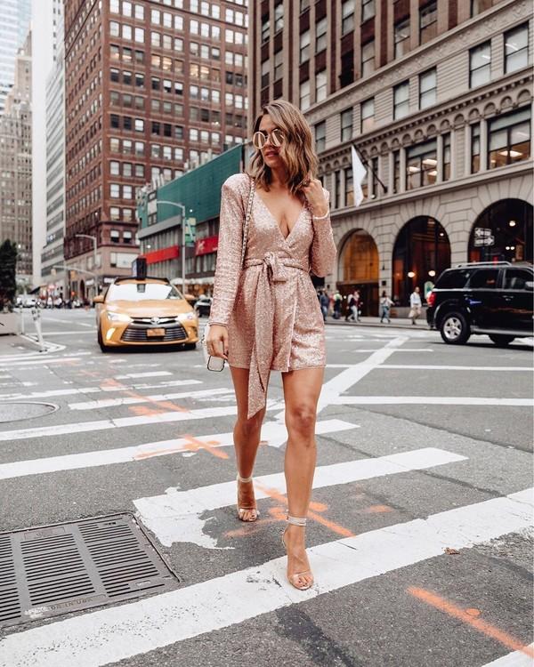 romper sequins long sleeves sandal heels white bag