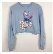 shirt,stitch,floral,cropped,light blue,sweatshirt