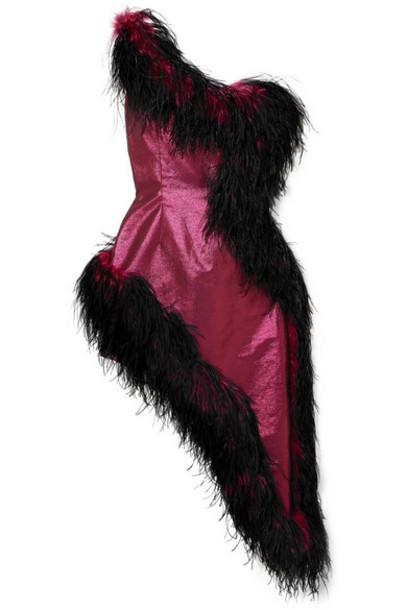 16ARLINGTON - One-shoulder Asymmetric Feather-trimmed Lamé Dress - Magenta