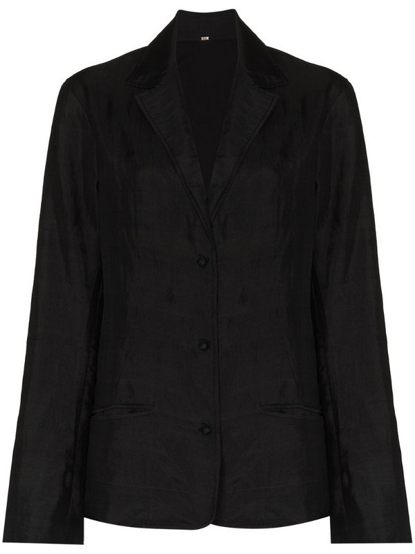 MIMI PROBER button-up organic silk blazer in black