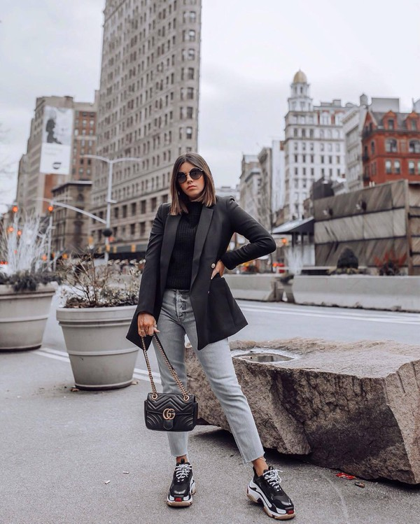 jacket black blazer platform sneakers balenciaga cropped jeans straight jeans black bag gucci bag black sweater