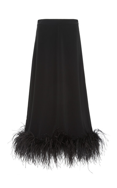 Co Feather-Trimmed Crepe Midi Skirt Size: S in black