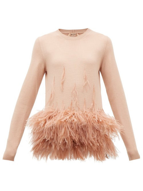 No. 21 - Ostrich Feather-embellished Virgin Wool Sweater - Womens - Light Pink