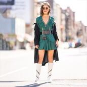 dress,mini dress,long sleeve dress,white boots,knee high boots,black belt,black coat,long coat,necklace