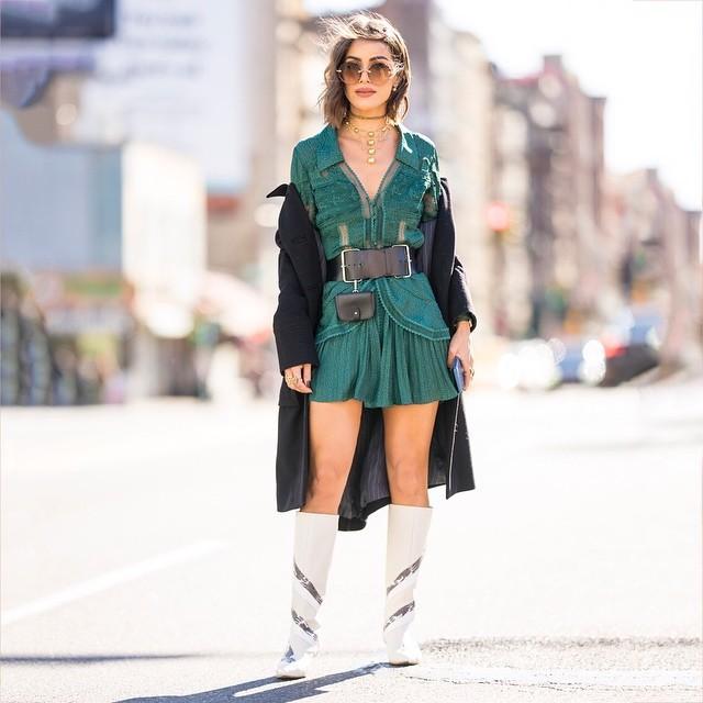 dress mini dress long sleeve dress white boots knee high boots black belt black coat long coat necklace
