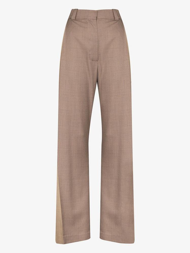 EFTYCHIA two tone wide leg trousers in neutrals