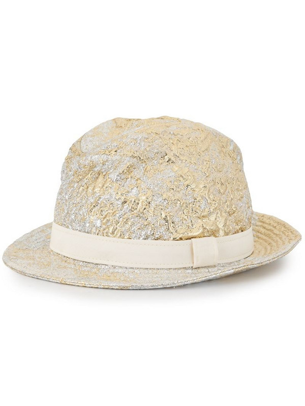 Dolce & Gabbana metallic-finish fedora hat in neutrals