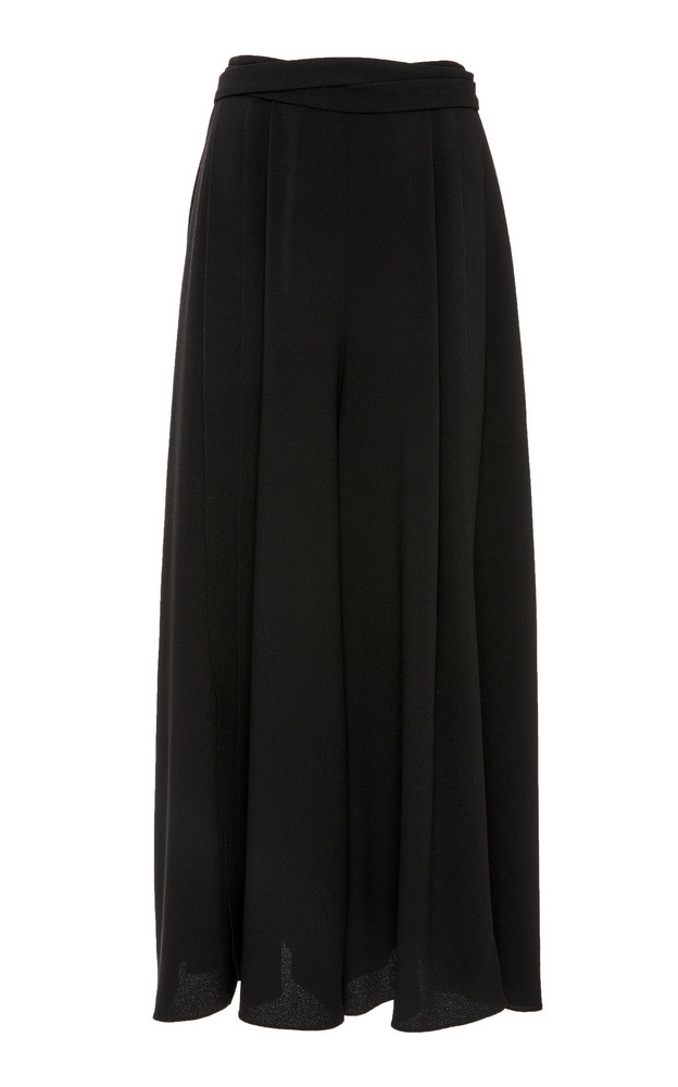 Proenza Schouler Belted Crepe Wide-Leg Pants Size: 0 in black