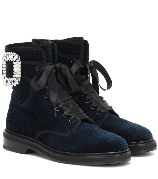 Roger Vivier Viv' Rangers Strass velvet ankle boots in blue