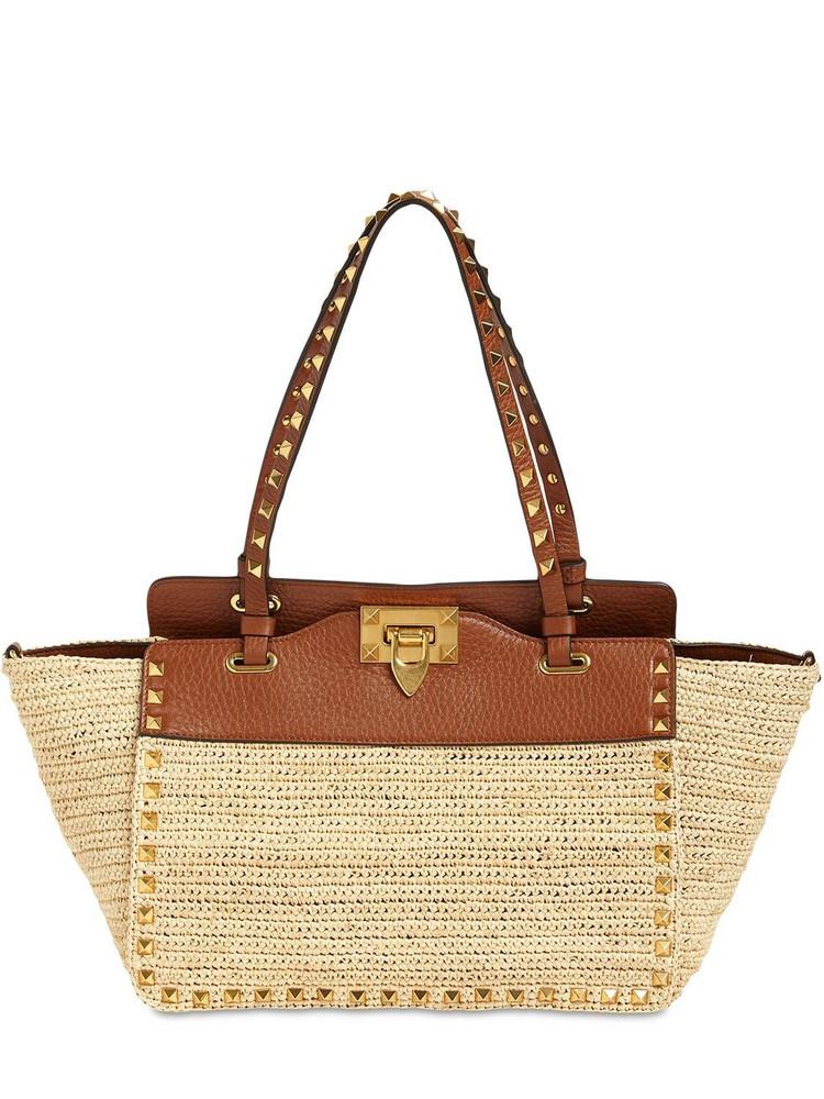 VALENTINO GARAVANI Small Rockstud Straw & Leather Tote Bag