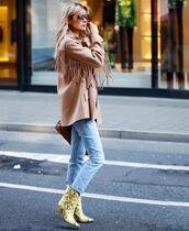 shoes,ankle boots,snake print,isabel marant,cropped jeans,oversized jacket,fringes,brown bag