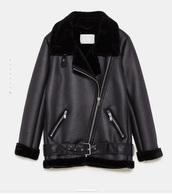 jacket,black,leather,leather jacket,faux fur