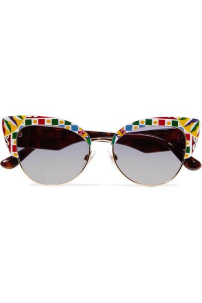 Dolce & Gabbana - Cat-eye Printed Acetate And Gold-tone Sunglasses - Blue