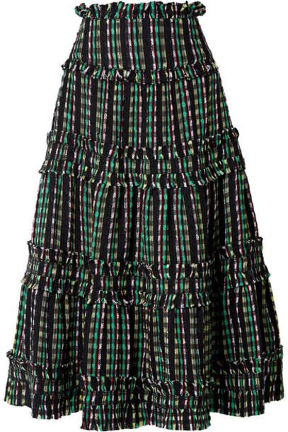Proenza Schouler - Tiered Tweed Maxi Skirt - Black