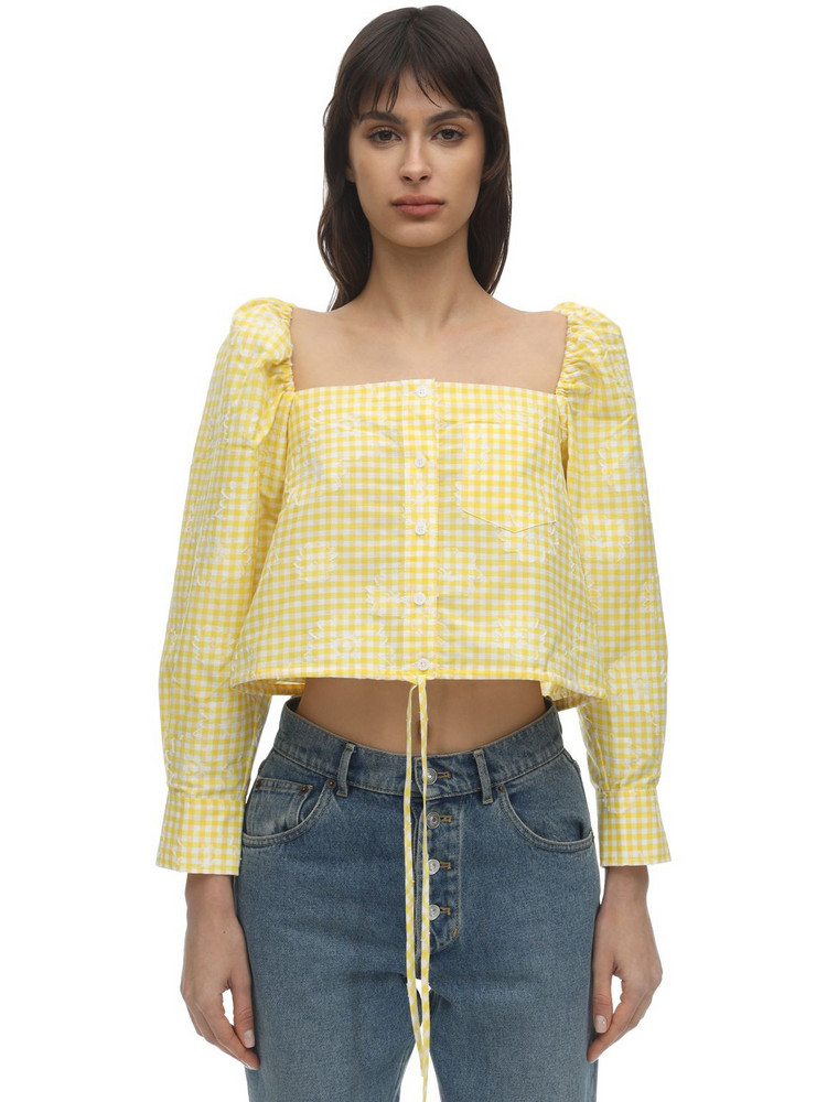 PUSHBUTTON Cropped Cotton Blend Top in white / yellow