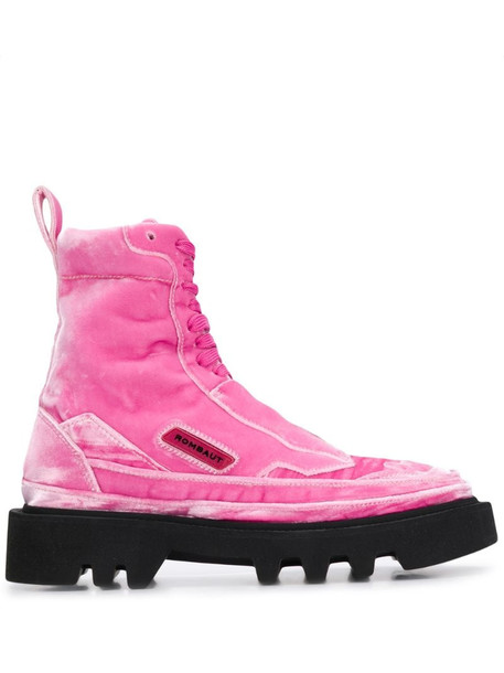 Rombaut ridged sole ankle boots in pink