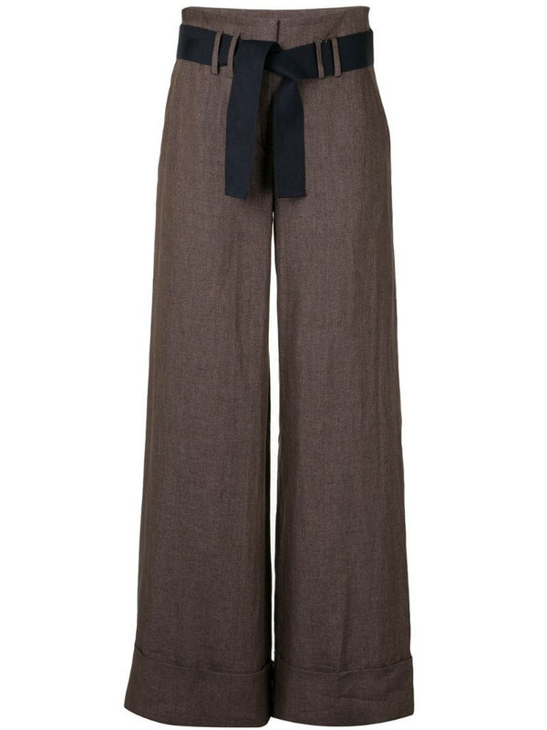Eleventy belted palazzo trousers in brown