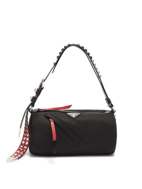 Prada - New Vela Cylindrical Nylon Shoulder Bag - Womens - Black Red