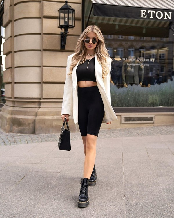 shorts black shorts black leggings black boots crop tops blazer