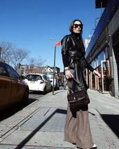 pants,wide-leg pants,plaid,chloe,white shirt,brown bag,shoulder bag,leather jacket,miu miu,black turtleneck top,sunglasses