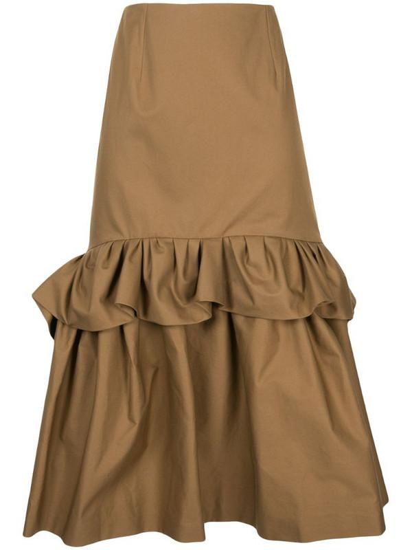 Delpozo ruffle-trimmed flared midi skirt in brown