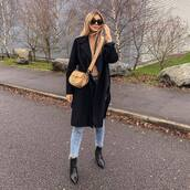 bag,chloe bag,crossbody bag,black boots,ankle boots,cropped jeans,black coat,long coat,top,long sleeves