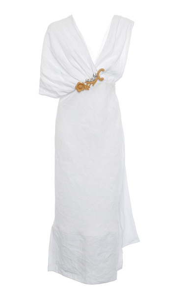 Miu Miu Asymmetric Embroidered Crepe Dress Size: 36 in white