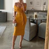 shoes,dress,mustard dress,yellow dress,dressy,off the shoulder,off the shoulder dress,wrap dress