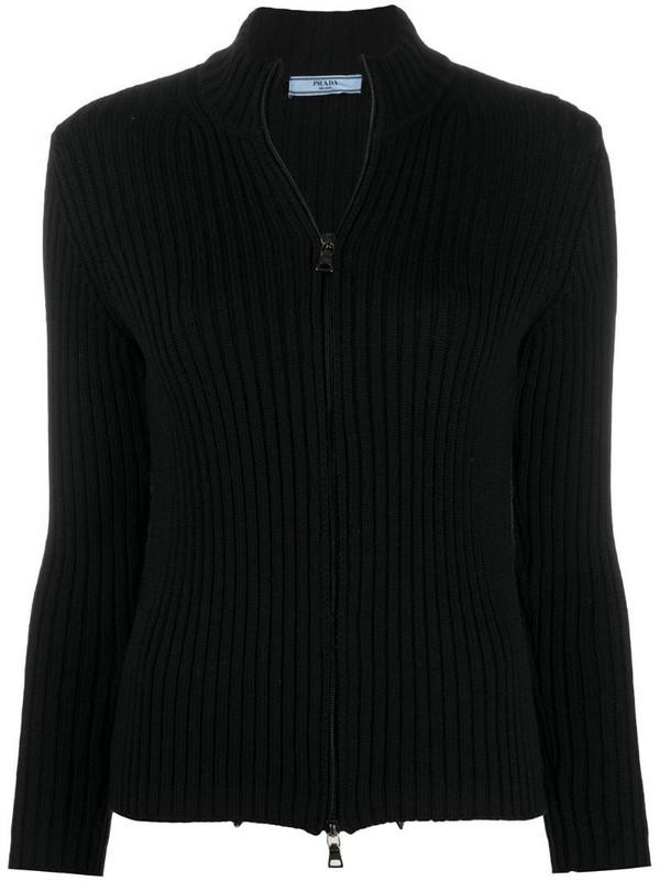 Prada Pre-Owned 1990s double-zip ribbed cardigan in black