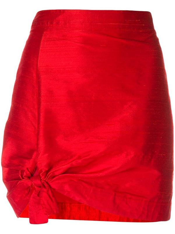 Giorgio Armani Pre-Owned tie detail mini skirt in red