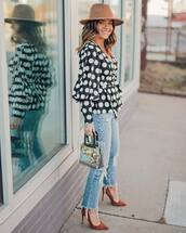 top,black blouse,polka dots,cropped jeans,ripped jeans,straight jeans,pumps,transparent  bag,hat