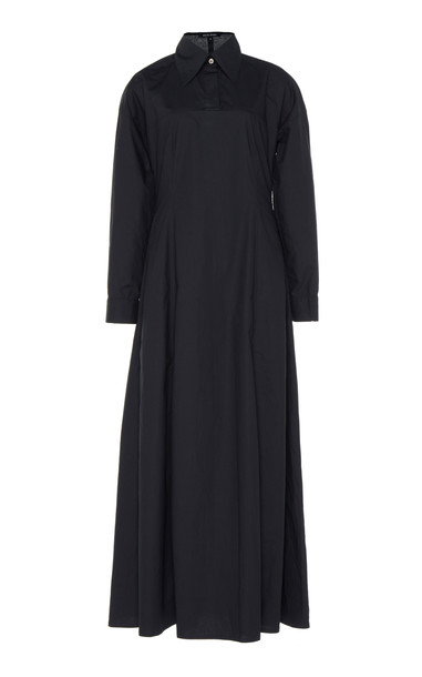 White Story Masquerade Cotton A-Line Maxi Dress in navy