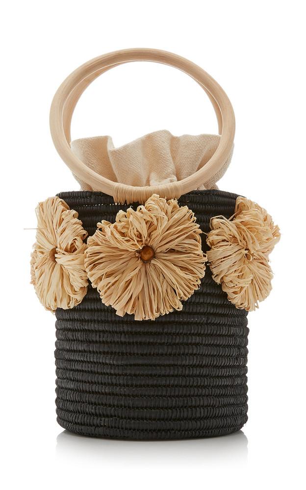 Poolside Together Forever Raffia-Trimmed Straw Bucket Bag in neutral