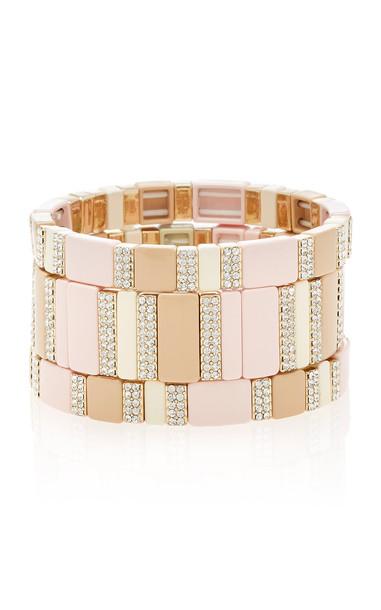 Roxanne Assoulin Set-Of-Three Enamel And Pave Diamond Stretch Bracelet in pink
