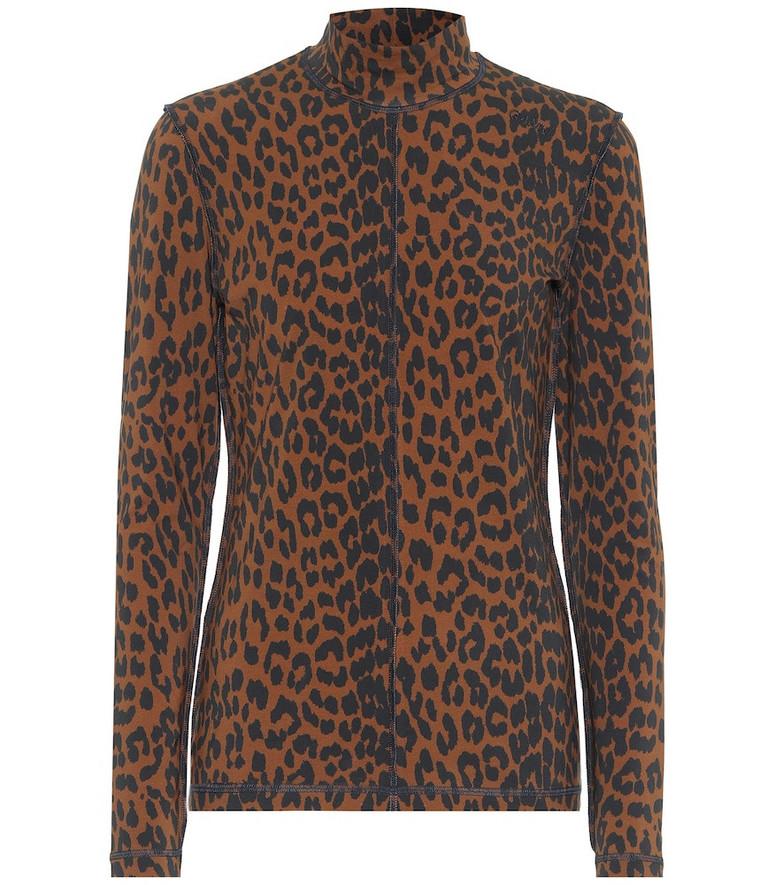 Ganni Leopard-print stretch-cotton sweater in brown