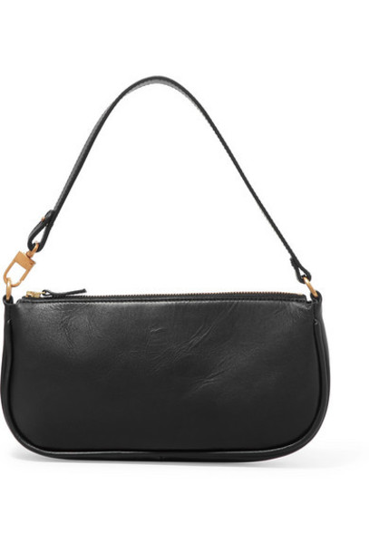 BY FAR - Rachel Leather Shoulder Bag - Black