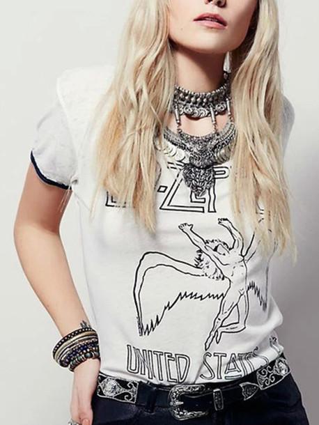 alternative rock led zeppelin white t-shirt chic