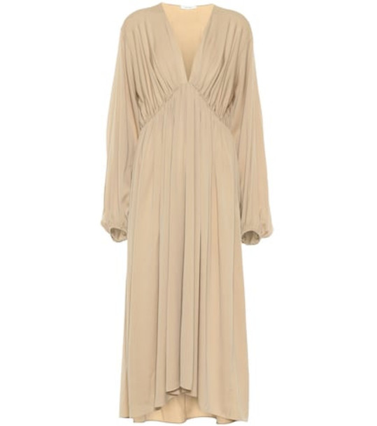 The Row Sasha stretch silk crêpe dress in brown