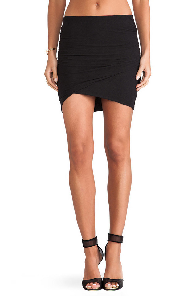 James Perse Wrap Mini Skirt in black