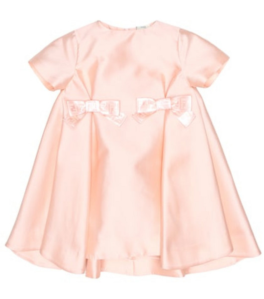 Fendi Kids Bow-trimmed A-line dress in pink