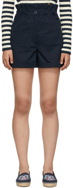 Kenzo Navy High-Waisted Elasticized Shorts in black / blue