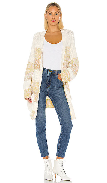 Free People Southport Beach Cardigan in Taupe,Cream,Mustard