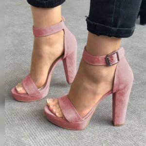 Women's Pink Suede Platform Chunky Heels Ankle Strap Sandals