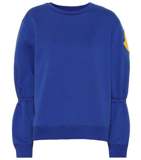 Moncler Embroidered cotton-blend sweatshirt in blue