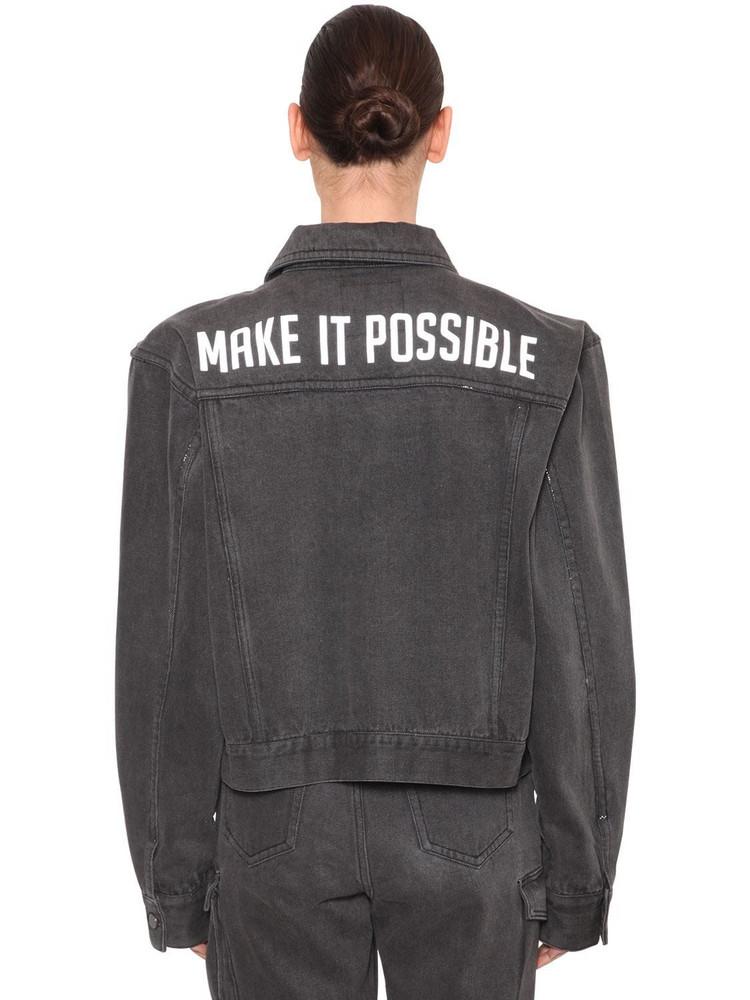 ANNAKIKI Huawei Wide Shoulder Denim Jacket in grey