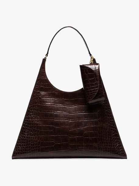 Staud Brown Crocodile effect leather shoulder bag