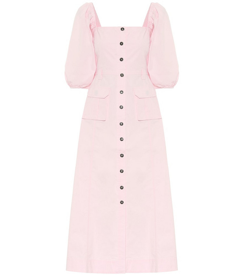 Ganni Stretch-cotton chino midi dress in pink