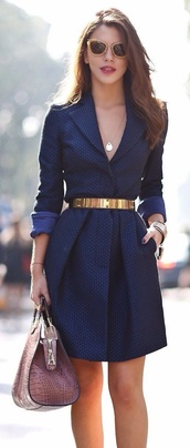 dress,coat,cardigan,blazer,blue blazer,belt,gold spiked belts,jewels,sunglasses,navy dress,collared dress,clothes,navy,white/navy blue/ gold,classy,dress coat,navy trench coat,corporate,blue,code dress,navy coat dress,short coat dress,coat dress shoes,bag,royal blue,please help me find it,i seriously love it,black dress,boho dress,dress corilynn,prom dress,lace dress,cute dress,little black dress,stylish,outfit,outfit idea,fall outfits,tumblr outfit,winter outfits,urban outfitters,shirt dress,gold belt,maxi dress,summer dress,business casual,business casual dress,business dress,business professional,business look,young business woman,streetwear,streetstyle,street goth,blue dress,tailoring,tailored dress,coat dress,brown tote,gold sunglasses,belted coat dress,short navy blue dress,belted dress