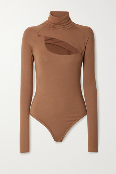Alix NYC - Carder Cutout Ribbed Stretch-modal Jersey Thong Bodysuit - Light brown