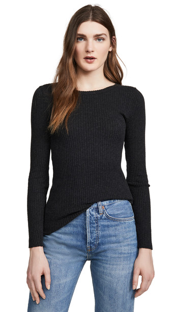 Enza Costa Cashmere Ribbed Crew Top in charcoal